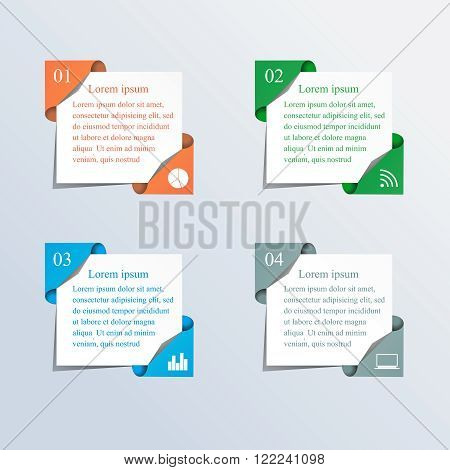 Vector colorful text boxes, trendy colors. Vector illustration can be used for workflow layout, diagram, number options, web design.