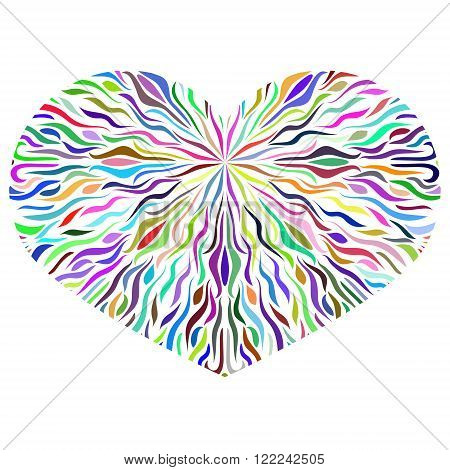 Ornamental Colorful Heart on white background. Vintage ornate design element for Valentine's Day or Wedding. Stock Vector