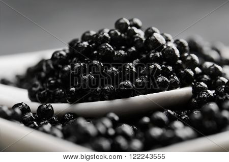 spoon of black caviar close-up in a white bowl side view horizontal