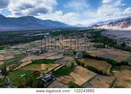 View over the Indus valley from Thiksay Monastery, Leh, Ladakh.