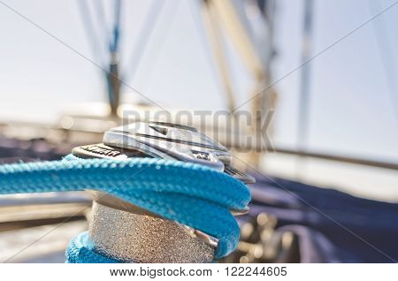 yacht winch on the deck of a sailing yacht