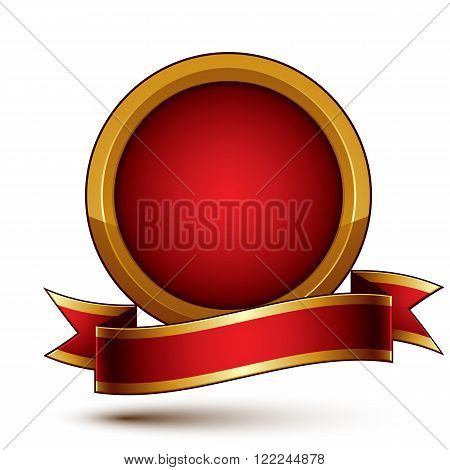 3D Vector Classic Royal Symbol, Sophisticated Golden Ring With Red Wavy Ribbon, Celebrity Emblem Iso