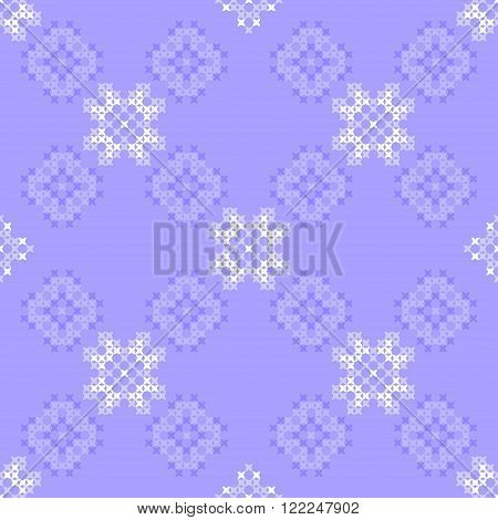 Seamless texture with blue ornaments. Embroidery. Cross stitch. Abstract patterns