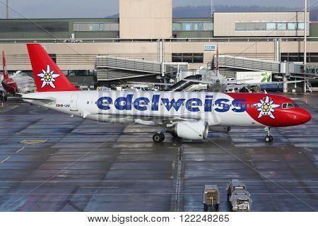Edelweiss Air Airbus A320 Airplane Zurich Airport