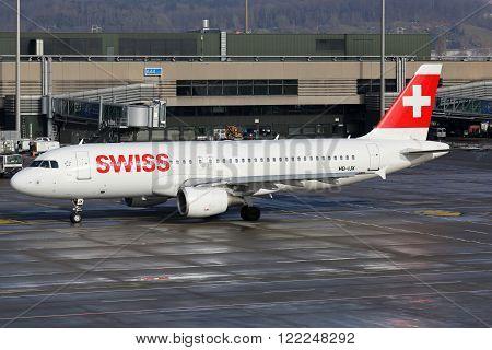Swiss Air Lines Airbus A320 Airplane Zurich Airport