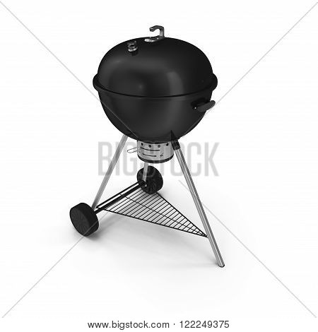 kettle barbecue grill with cover isolated on white background.