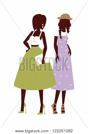 Beautiful young womens in pink dress and blue jeans fashion looks, glamour stylish fashion look models. Fashion looks pure beauty two girls colored silhouette flat vector illustration.