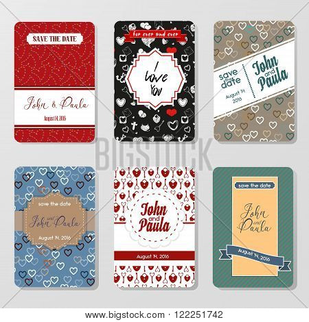 Set of perfect vector card templates in Different Colored Variation. Ideal for Save The Date, baby shower, mothers day, valentines day, birthday cards, invitations. Vector card with Decorative Hearts. Vintage Pattern. Vector Stock.