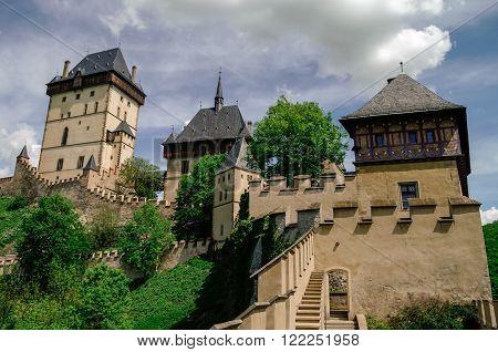Famous Medieval Karlstejn Castle Near Prague In Czech Republic