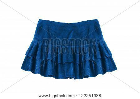 Blue velvet mini skirt with frills isolated over white