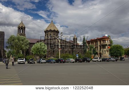 Gyumri, Armenia - September 17, 2013: Main Square with Yot Verk church Armenia