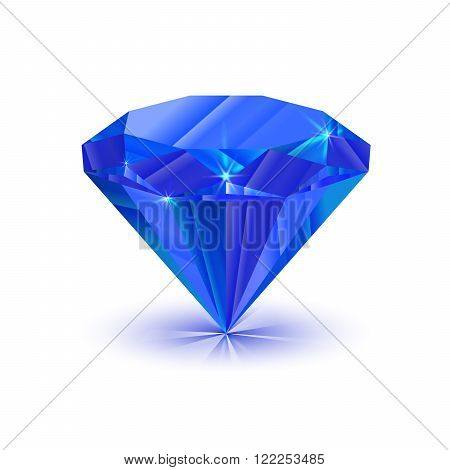 Realistic bright shiny sapphire isolated on white