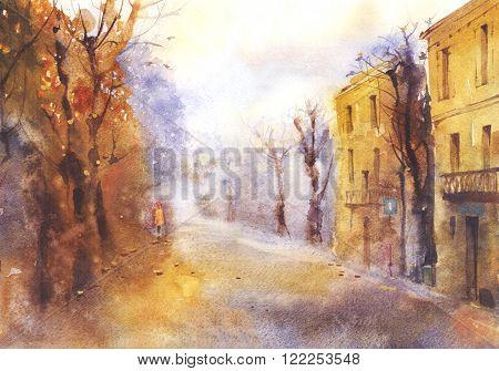 Watercolor autumn landscape of the city street