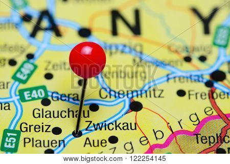 Photo of pinned Zwickau on a map of Germany. May be used as illustration for traveling theme.