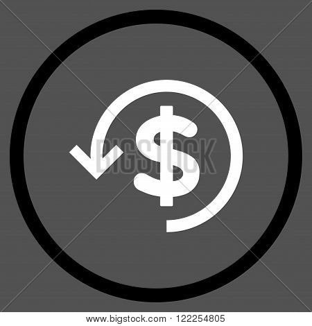 Rebate vector bicolor icon. Picture style is flat refund rounded icon drawn with black and white colors on a gray background.