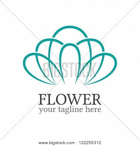 Abstract flower logo template. Floral logo. Spa logo. Flower shop logo. Minimal floral logo. Colorful flower. Business logo template. Flower outline icon.