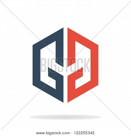 Abstract letters G and G logo template. GG icon. Geometric letters G and G. Business logo template. Vector