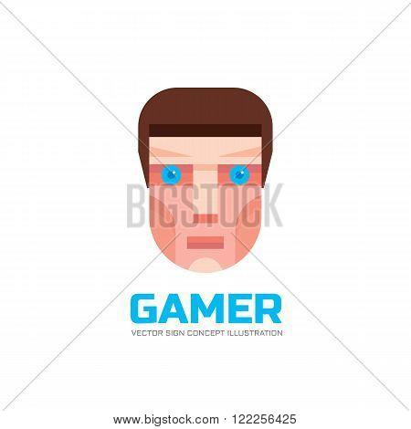 Gamer - vector logo concept illustration in flat style design. Human head logo sign. Human face logo sign. Geek logo icon. Human cartoon head illustration. Vector logo template. Design element. poster