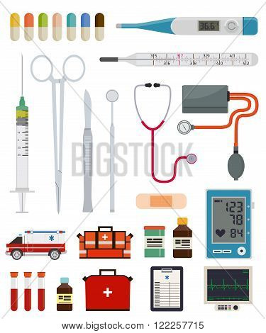 Medical instruments, equipment and tools on a white background