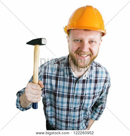 Bearded man with a hammer in his hand