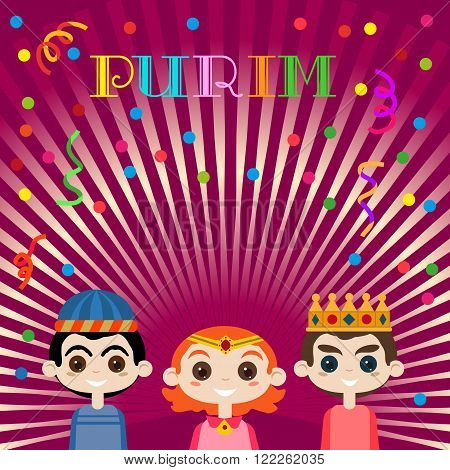 Concept of Kids Carnival on Happy Purim Holiday. Poster background for family Purim party. Jewish holiday kinds masquerade with masks costumes on Purim festival celebration. Vector Illustration.