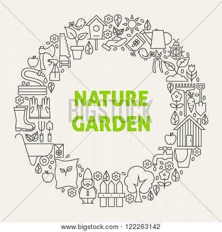 Nature Garden Line Art Icons Set Circle
