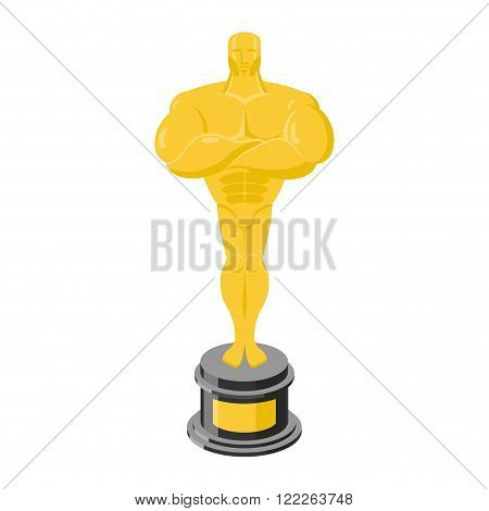 Golden Statuette Isolated. Golden Statue On White Background. Gold Figure On Pedestal
