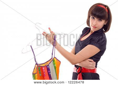 beautiful woman hold hanger with dress isolated