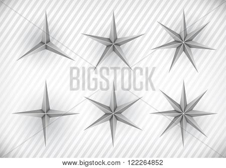 Collection of three, four, five, six, seven and eight pointed stars