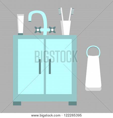 Set of bathroom elements. Bathroom equipment. Washbasin, towel. Bathroom design in flat style. Vector illustration.