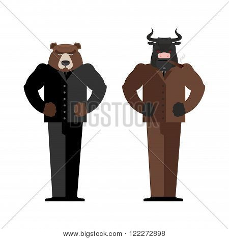 Bull Businessman. Bear Businessman. Bulls And Bears Traders On Stock Market. Business Office Suit. C