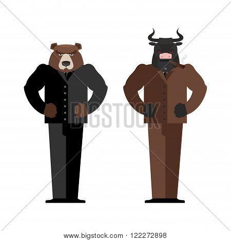Bull Businessman. Bear Businessman. Bulls And Bears Traders On Stock Market. Business Office Suit. C