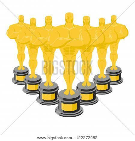 Golden Statuette. Many Gold Figures For Awards. Golden Statue. Collection Of Gold Statuettes. Dream