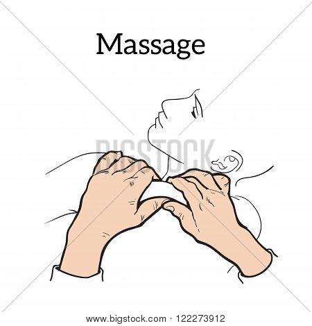 Hand massage, back massage, body massage. THand massage. Massage therapy. Therapeutic manual massage.  Massage vector icons.