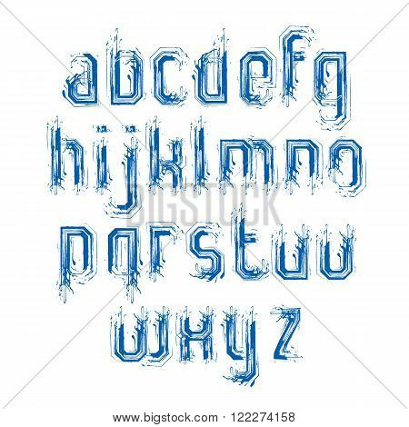 Lowercase doodle letters drawn with ink brush art vector font.