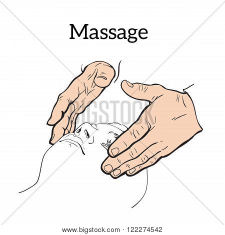 Hand massage, skin massage, face massage. Face massage. Massage therapy. Therapeutic manual massage. Relaxing therapy. Massage vector icons.