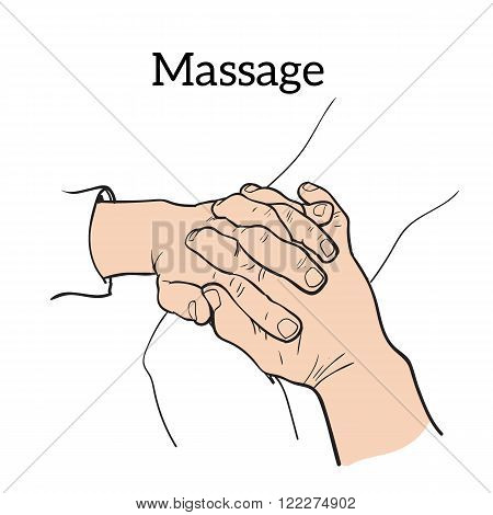 Hand massage, back massage, body massage. Types of massage. Set with image of massage. Hand massage. Massage therapy. Therapeutic manual massage.  Massage vector icons.