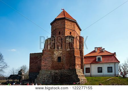 LIW TOWN, POLAND - APRIL 11, 2015: Liw Castle, medieval stronghold ruins and museum XVth century