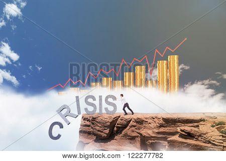 Businessman Fighting Against Crisis
