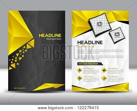 Black and Yellow business brochure fl-yer design layout template, brochure design templates,cover design, Annual report, polygon background, cover template,book,leaflet,vector template