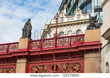 LONDON, UK - SEPTEMBER 19, 2015: Holborn Viaduct, 1863-1869. Building cost was over £2 million (over £165 million in 2014)