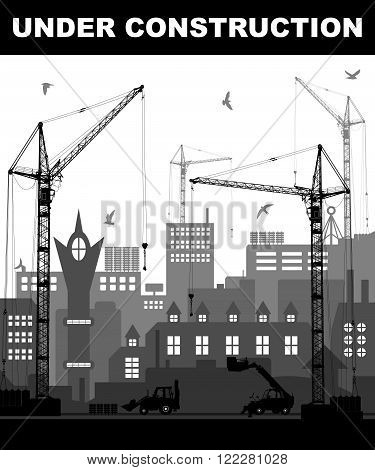"""under Construction"" Concept At Building Site In The City With Detailed Silhouettes Of Construction"