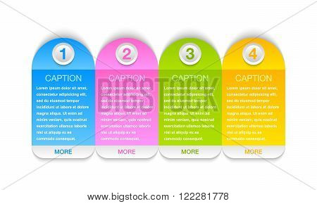 Colorful progress steps design elements for tutorials isolated on white background