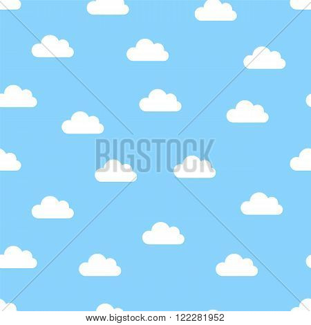 white clouds seamless on a blue background vector illustration