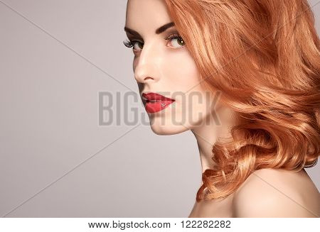 Beauty portrait nude woman, eyelashes, perfect skin, natural makeup, red lips, fashion. Gorgeous sensual attractive pretty redhead sexy model girl, shiny wavy hair.People face closeup, spa, copy space