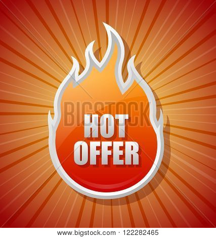 Glossy hot offer icon with sunburst effect on orange red background