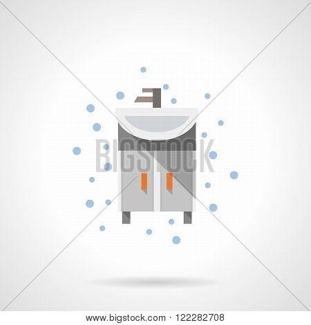 Bathroom washstand flat color vector icon