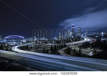 A classic view of downtown Seattle city skyline at dusk.
