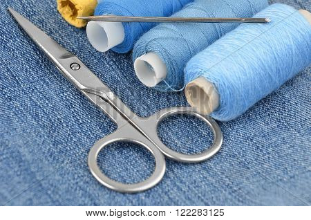 Sewing Kit And Jeans
