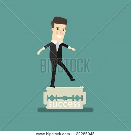 Businessman balancing on the knife. Business concept cartoon illustration.